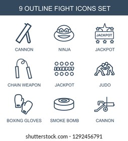 9 fight icons. Trendy fight icons white background. Included outline icons such as cannon, ninja, Jackpot, chain weapon, judo, boxing gloves, smoke bomb. fight icon for web and mobile.