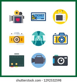 9 film icon. Vector illustration film set. television and photo camera icons for film works