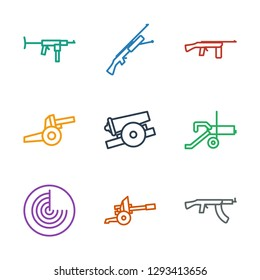 9 firearm icons. Trendy firearm icons white background. Included outline icons such as submachine gun, cannon, radar. firearm icon for web and mobile.