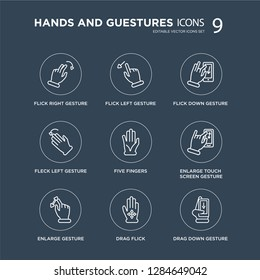 9 Flick Right gesture, Left Enlarge touch screen Five Fingers modern icons on black background, vector illustration, eps10, trendy icon set.