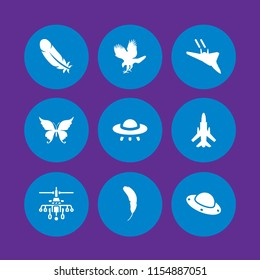 9 fly icons in vector set. ufo, feather, plane and military helicopter illustration for web and graphic design
