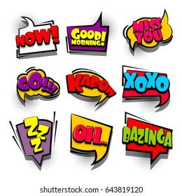 9 Funny set comic book cartoon text phrase xoxo, kapow, zzz. Colored dialog box cloud. Abstract creative hand drawn vector colorful speech bubble. Balloon on halftone dot background pop art style.