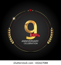 9 golden anniversary logo with red ribbon, low poly design number
