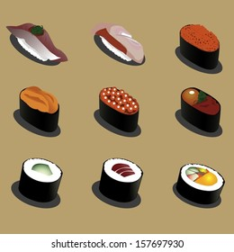 9 Graphic vector set of delicious sushi set 02