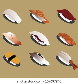 9 Graphic vector set of delicious sushi set 01