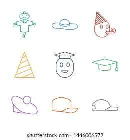 9 hat icons. Trendy hat icons white background. Included line icons such as baseball cap, woman hat, graduation graduate emoji, party party emot. icon for web and mobile.