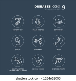 9 Hemorrhoid, Heart disease, Genital Herpes (Herpes Simplex Virus), GERD, Giardiasis, Gonorrhea, Goitre, herpes modern icons on black background, vector illustration, eps10, trendy icon set.