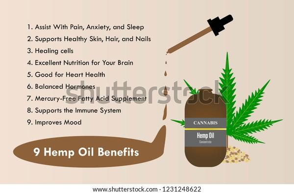9 Hemp Oil Benefits Marijuana Oil Stock Vector (Royalty Free