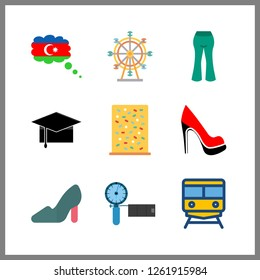 9 high icon. Vector illustration high set. ferris whell and azerbaijan icons for high works
