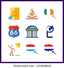 9 history icon. Vector illustration history set. ireland and netherland icons for history works