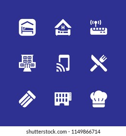 9 hotel icons in vector set. mattress, motel, accomodation and wifi illustration for web and graphic design