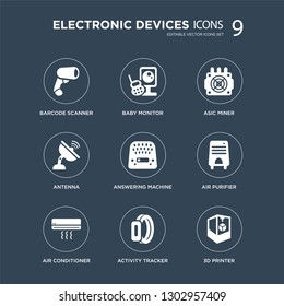 9 icons Set such as Barcode scanner, baby monitor, Air conditioner, purifier, answering machine, asic miner, Antenna, Activity tracker modern icons on black background, vector illustration