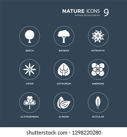 9 icons Set such as Beech, Baobab, Alstroemeria, Anemone, Anthurium, Astrantia, Aster, Almond modern icons on black background, vector illustration