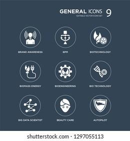 9 icons Set such as brand awareness, bpm, big data scientist, bio technology, bioengineering, biotechnology, biomass energy, beauty care modern icons on black background, vector illustration