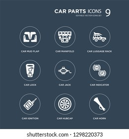 9 icons Set such as car mud flap, manifold, ignition, indicator, jack, luggage rack, lock, hubcap modern icons on black background, vector illustration