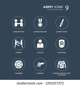 9 icons Set such as conscription, Condecoration, Chamber, chevrons, civilian, combat knife, combat, Cannon modern icons on black background, vector illustration