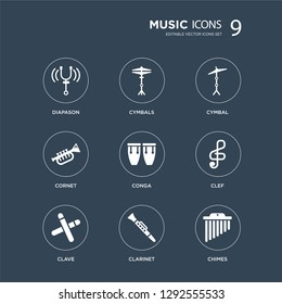 9 icons Set such as Diapason, Cymbals, Clave, Clef, Conga, Cymbal, cornet, Clarinet modern icons on black background, vector illustration