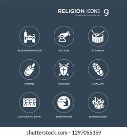 9 icons Set such as Fajr dawn Prayer, Eyd Gun, Captives to Egypt, Challah, Crusade, Drum, Dreidel, Zuhr Prayer modern icons on black background, vector illustration