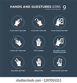 9 icons Set such as icons Set such as Flick Right gesture, Left Enlarge touch screen Five Fingers, Down gesture modern on black background, vector illustration