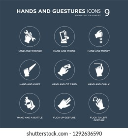 9 icons Set such as Hand and Wrench, Phone, a Bottle, Chalk, Cit Card, Money, Knife, Flick Up gesture modern icons on black background, vector illustration
