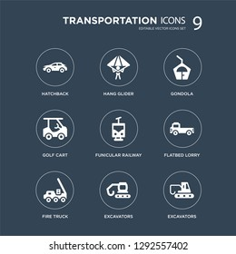 9 icons Set such as hatchback, hang glider, Fire truck, flatbed lorry, funicular railway, gondola, Golf cart, Excavators modern icons on black background, vector illustration