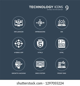 9 icons Set such as Influencer, Impressions, Growth Hacking, HTML, HTML5, IDE, Hybrid app, Grid system modern icons on black background, vector illustration