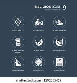 9 icons Set such as Israel Barley, Islamic Wudu, Minbar, Mosque, Pray, Ramadan, Praying Carpet, Halal modern icons on black background, vector illustration