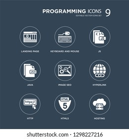 9 icons Set such as Landing page, Keyboard and mouse, Http, Hyperlink, Image SEO, Js, Java, Html5 modern icons on black background, vector illustration