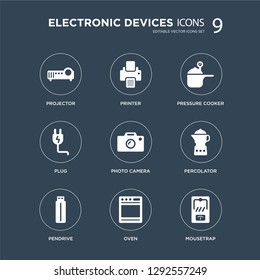 9 icons Set such as Projector, Printer, Pendrive, percolator, Photo camera, pressure cooker, Plug, Oven modern icons on black background, vector illustration