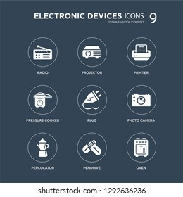 9 icons Set such as Radio, Projector, percolator, Photo camera, Plug, Printer, pressure cooker, Pendrive modern icons on black background, vector illustration