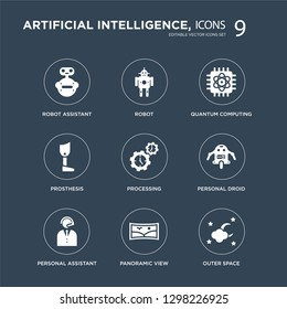 9 icons Set such as Robot assistant, Robot, Personal droid, Processing, Quantum computing, Prosthesis, Panoramic view modern icons on black background, vector illustration