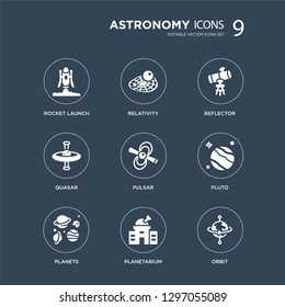 9 icons Set such as Rocket launch, Relativity, Planets, Pluto, Pulsar, Reflector, Quasar, Planetarium modern icons on black background, vector illustration