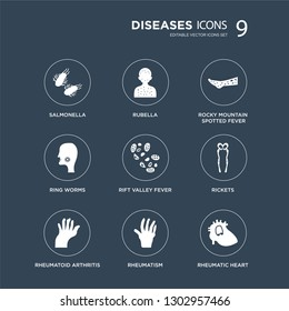 9 icons Set such as Salmonella, Rubella, Rheumatoid arthritis, Rickets, Rift Valley fever, Rocky Mountain spotted Ring worms, Rheumatism modern icons on black background, vector illustration