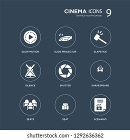 9 icons Set such as slow motion, slide projector, Seats, Shakespeare, Shutter, slapstick, Silence, Seat modern icons on black background, vector illustration