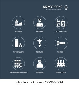 9 icons Set such as Warship, Veteran, Time Bomb with Clock, Torpedo, torture, Two way radio, Bullets, Terrorist modern icons on black background, vector illustration