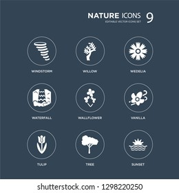 9 icons Set such as Windstorm, Willow, Tulip, Vanilla, Wallflower, Wedelia, Waterfall, Tree modern icons on black background, vector illustration