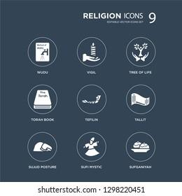 9 icons Set such as Wudu, Vigil, Sujud Posture, Tallit, Tefilin, Tree of Life, Torah Book, Sufi Mystic modern icons on black background, vector illustration
