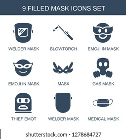9 icons. Trendy icons white background. Included filled icons such as welder, blowtorch, emoji in mask, gas, thief emotion, medical mask. icon for web and mobile.