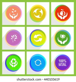 """9 images: apple in hands, bird, label """"100% natural"""", recycle symbol, plant, protection nature. Ecology set. Internet template. Vector icons."""