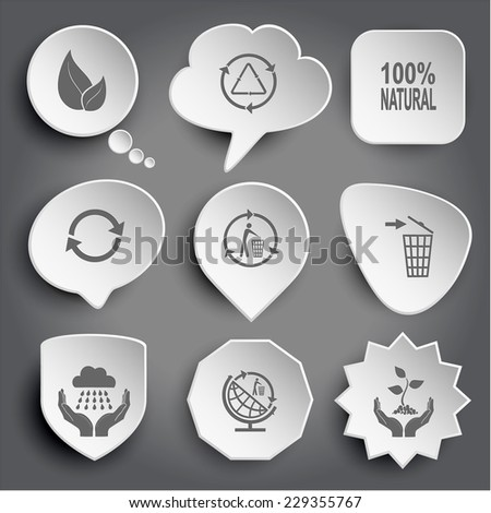 "9 images: leaf, recycle symbols, label ""100% natural"", recycling bin, weather, globe, plant in hands. Ecology set. White vector buttons on gray."