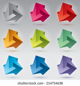 9 Impossible figure, 3 arrows, unreal arrows. Abstract vector objects, color set