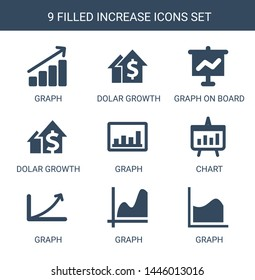 9 increase icons. Trendy increase icons white background. Included filled icons such as graph, dolar growth, graph on board, chart. increase icon for web and mobile.