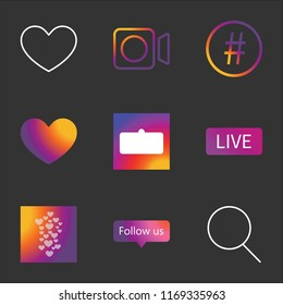 9 instagram simple transparent vector icon pack, set of black icons such as Search, Follow us, instagram Hearts, Live, User interface, Heart, Hashtag, Video, Heart