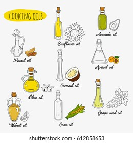9 isolated doodle cooking oils. Mixed colored and outline set. Sketchy hand drawn vegetable oils. With origin products:  olive, apricot, corn, grape seed, walnut, coconut, avocado, peanut, sunflower.