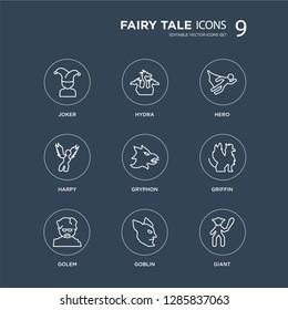 9 Joker, Hydra, Golem, Griffin, Gryphon, hero, Harpy, Goblin modern icons on black background, vector illustration, eps10, trendy icon set.