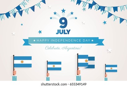 9 July, Argentina Independence Day greeting card. Holiday background with waving flags, ribbon and garlands. Vector flat illustration