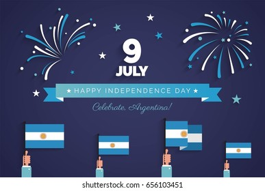 9 July, Argentina Independence Day greeting card. Holiday background with waving flags, ribbon and fireworks. Vector flat illustration
