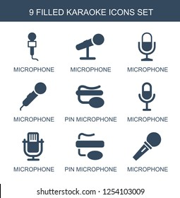9 karaoke icons. Trendy karaoke icons white background. Included filled icons such as microphone, pin microphone. karaoke icon for web and mobile.