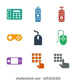 9 keypad icons. Trendy keypad icons white background. Included filled icons such as hand on atm, portable console, mouse, joystick, remote control. keypad icon for web and mobile.
