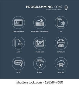 9 Landing page, Keyboard and mouse, Http, Hyperlink, Image SEO, Js, Java, Html5 modern icons on black background, vector illustration, eps10, trendy icon set.